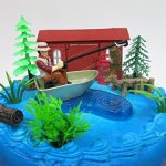 Gone-Fishing-Fisherman-Themed-Birthday-Cake-Topper-Set-Featuring-Camping-Angler-in-Boat-with-Decorative-Themed-Accessories-0-2