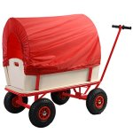 Goplus-Children-Kids-Toys-Cart-Wagon-Stroller-Outdoor-w-Wood-Railing-Red-Covered-New-0-1