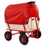 Goplus-Children-Kids-Toys-Cart-Wagon-Stroller-Outdoor-w-Wood-Railing-Red-Covered-New-0