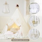 HAN-MM-Floral-Classic-Ivory-Kids-Teepee-Kids-Play-Tent-Childrens-Play-House-Tipi-Kids-Room-Decor-0-1