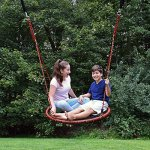 Ivation-Web-Tree-Swing-Fully-Assembled-Kids-Outdoor-Swinging-Kit-40-Inch-diameter-2-Adjustable-Rope-Straps-Carabiners-Hang-from-Tree-or-Playset-600-lb-Capacity-0-0