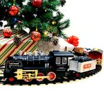 Joyin-Classic-Holiday-Electric-Premium-Train-Set-BIG-Train-12-Engine-with-Lights-Sounds-and-Remote-Control-5-Train-Cars-and-Tracks-for-Christmas-Toy-Christmas-Gift-Christmas-Tree-Decor-0-0