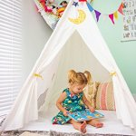 Kids-Canvas-Teepee-For-Play-and-the-Great-Outdoors-Durable-Child-Teepee-and-Playhouse-Large-Teepee-Tent-with-Floor-and-a-Ventilation-Door-Sturdy-Teepee-Hut-for-Kids-Play-Teepee-Camping-Tent-0-1