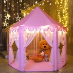 Kids-Play-House-Princess-Tent-Indoor-and-Outdoor-Hexagon-Pink-Castle-Play-tent-for-Girls-with-LED-Light-by-MonoBeach-0