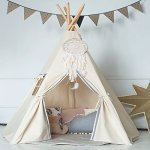 Kids-Teepee-TentFoldable-Playhouse-For-Indoor-or-Outdoor-Play-Tent-With-Flag-Without-Dream-Catche-0