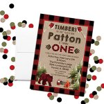 Lumberjack-1st-Birthday-Custom-Personalized-Party-Invitations-Twenty-5-X-7-Cards-Including-20-White-Envelopes-by-AmandaCreation-Perfect-for-first-birthday-parties-0-0