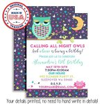 Night-Owl-Sleepover-Slumber-Party-Custom-Personalized-Birthday-Invitations-Twenty-5×7-Cards-with-20-White-Envelopes-by-AmandaCreation-0-1