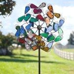 Outdoor-Multi-Plume-Metal-Garden-Wind-Spinner-Sculpture-24-dia-x-9-D-x-75-H-0
