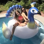 PRE-SEASON-DEAL-Deluxe-Inflatable-Pool-Float-Lounger-Xino-Sports-Giant-Peacock-Raft-with-2-Sturdy-Handles-Incredible-Fun-for-the-Whole-Family-Floatie-for-Pools-Lakes-or-the-Beach-0-0
