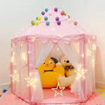 Pink-Princess-Castle-Play-Tent-for-Girls-Pink-Kids-Play-Tent-With-Star-LED-Lights-Indoor-and-Outdoor-0-1