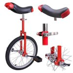 Pro-Red-18-inch-Wheel-Rim-Unicycle-w-Comfy-Saddle-Seat-Steel-Fork-Frame-Rubber-Tire-for-Adult-Cycling-Bike-Balance-Ride-Road-Mountain-Practice-Recreational-0-0