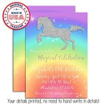Rainbow-Glitter-Unicorn-Custom-and-Personalized-Invitations-set-of-20-including-envelopes-0-1