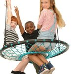 SWINGING-MONKEY-PRODUCTS-Tarzan-Tire-40-Spider-Web-Swing-Green–Tree-Swing-Redesigned-Tire-Swing-Extra-Safe-and-Durable-Swing-with-Friends-Easy-Install-for-Swing-Set-or-Tree-0-0