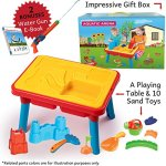 Sand-and-Water-Table-Aquatic-Arena-Sandbox-Activity-Play-Set-Play-Sand-and-Water-Creative-Sensory-Table-with-Lid-Accessories-Includes-12-Piece-Beach-Toy-Play-Set-With-Bonus-Water-Gun-E-Book-0-1