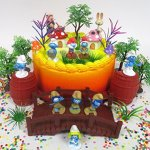 Smurfs-and-Friends-Birthday-Cake-Topper-Set-Featuring-Smurf-Figures-and-Decorative-Themed-Accessories-0