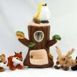 Special-Edition-Plush-Treehouse-with-Animals-Tree-Stump-Five-5-Stuffed-Forest-Animals-Fox-Elk-Bird-Black-Bear-and-Squirrel-0