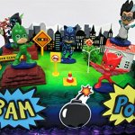 Super-Hero-PJ-MASKS-Deluxe-Birthday-Party-Cake-Topper-Set-Featuring-Figures-and-Decorative-Accessories-0