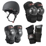 Triple-8-Gotham-Black-Rubber-Bike-and-Skateboard-Helmet-with-Protective-Pads-0