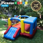 Upgrade-Version-PicassoTiles-KC102-12×10-Foot-Inflatable-Bouncer-Jumping-Bouncing-House-Jump-Slide-Dunk-Playhouse-w-Basketball-Rim-4-Sports-Balls-Full-Size-Entry-Extended-Slider-525W-Blower-0-0