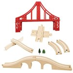 Wooden-Train-Track-Set-OrgMemory-Suspension-Bridge-Viaduct-Bridge-Curved-Track-Compatible-with-All-Major-Brands-0