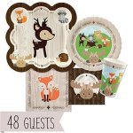 Woodland-Creatures-Baby-Shower-or-Birthday-Party-Tableware-Bundle-for-48-Guests-0