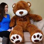 Yesbears-Giant-Teddy-Bear-5-Feet-Brown-Microfiber-Bowtie-Face-Ulra-Soft-0