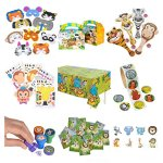 Zoo-Animal-Safari-Party-Supplies-and-Favors-12-Treat-Boxes-12-Animal-Masks-144-Tattoos-12-Paddle-Balls-12-Make-Zoo-Stickers-12-Notebooks-100-Stickers-24-Stampers-1-Zoo-Animal-Tablecloth-0