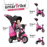 smarTrike-Swing-4-in-1-Baby-Trike-Light-Weight-12-pound-With-Padded-Soft-Seat-High-Back-SUpport-3-Point-Safety-Harness-shoulder-pads-Cup-Holder-Storage-Bag-Canopy-in-Pink-0