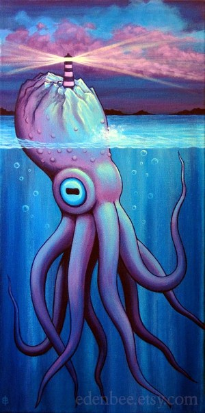 acrylic painting paintings canvas simple murky beginners octopus paint depths easy squid inspiration eden bachelder drawing hobbylesson techniques tutorials excellent