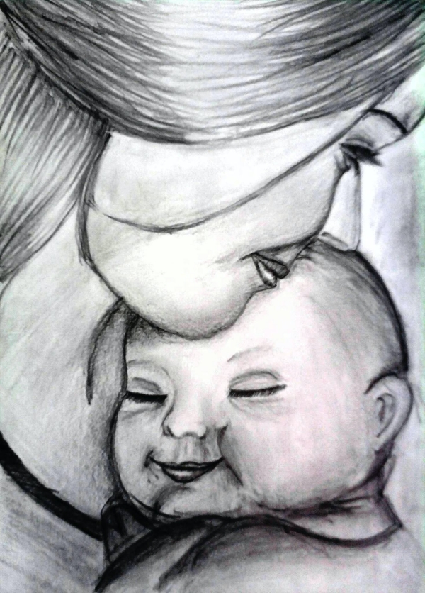 Mother And Baby Images Drawing : mother, images, drawing, Simple, Pencil, Mother, Child, Drawings