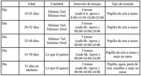 Tabla de tomas agapornis papillero