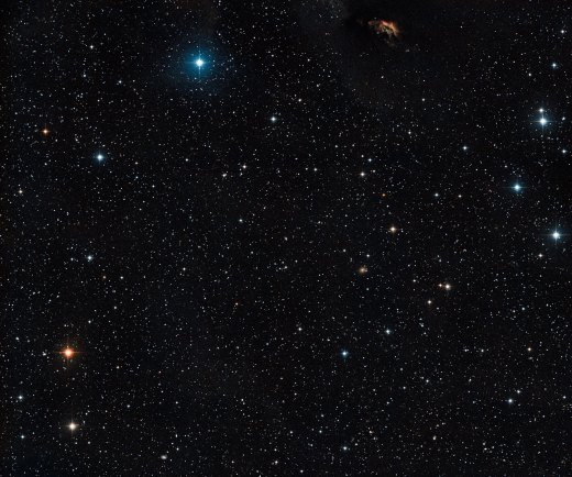 View of the sky around the multiple star system GG Tauri