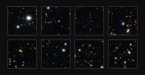 ESO's VISTA survey telescope has spied a horde of previously hidden massive galaxies that existed when the Universe was in its infancy. By discovering and studying more of these galaxies than ever before, astronomers have for the first time found out exactly when such monster galaxies first appeared. A few of the newly discovered massive galaxies are shown in close-up on these small subsets of the UltraVISTA field.