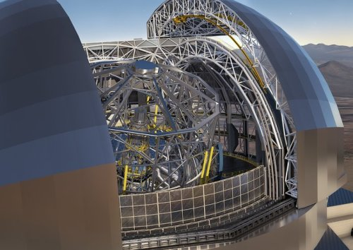 This artist's rendering of the E-ELT is based on the detailed construction design for the telescope. Credit: ESO/L. Calçada/ACe Consortium