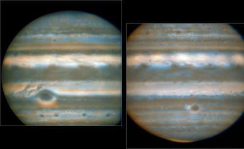 False colour images generated from VLT observations in February and March 2016, showing two different faces of Jupiter. The bluer areas are cold and cloud-free, the orangey areas are warm and cloudy, more colourless bright regions are warm and cloud-free, and dark regions are cold and cloudy (such as the Great Red Spot and the prominent ovals). The wave pattern over the North Equatorial Band shows up in orange. This view was created from VLT/VISIR infrared images from February 2016 (left) and March 2016 (right). The orange images were obtained at 10.7 micrometres wavelength and highlight the different temperatures and presence of ammonia. The blue images at 8.6 micrometres highlight variations in cloud opacity.