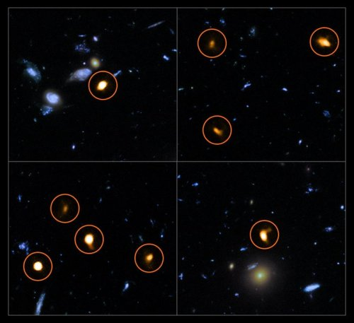 These cutout images are from a combination of a background picture taken by the NASA/ESA Hubble Space Telescope (blue/green) with a new very deep ALMA view of the field (orange, marked with circles). All the objects that ALMA sees appear to be massive star-forming galaxies. This image is based on the ALMA survey by J. Dunlop and colleagues, covering the full HUDF area.