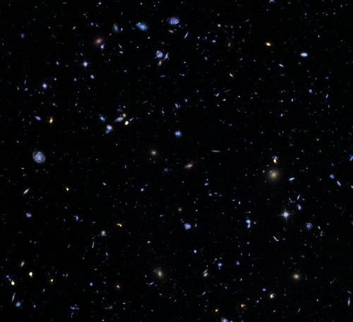 This image, called the Hubble eXtreme Deep Field (XDF), combines Hubble observations taken over the past decade of a small patch of sky in the constellation of Fornax. With a total of over two million seconds of exposure time, it is the deepest image of the Universe ever made, combining data from previous images including the Hubble Ultra Deep Field (taken in 2003 and 2004) and Hubble Ultra Deep Field Infrared (2009). The image covers a region less than a tenth of the width of the full Moon across, making it just a 30 millionth of the whole sky. Yet even in this tiny fraction of the sky, the long exposure reveals about 5500 galaxies, some of them so distant that we see them when the Universe was less than 5% of its current age. The Hubble eXtreme Deep Field image contains several of the most distant objects ever identified.