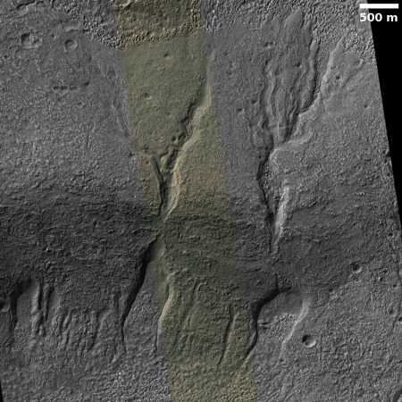 Older Gullies and Channels in Slopes of Softened Large Crater