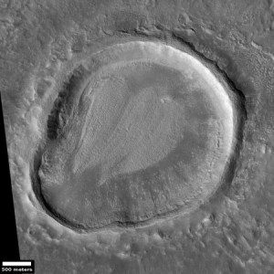 Odd Shaped Crater in Arabia Terra