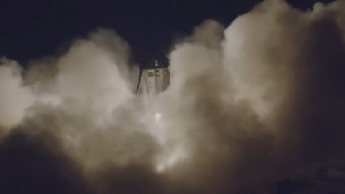 Starhopper on first flight as seen by drone