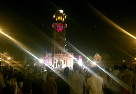 walking about jodhpur city at night at clock tower
