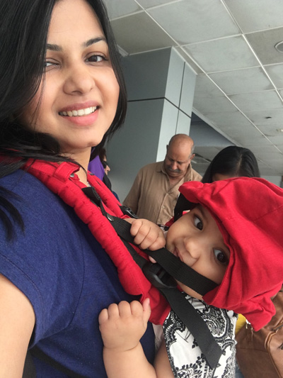 mom and baby boarding jet airways flight infant travel