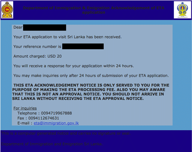 sri lanka eta processing time