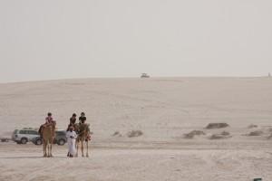 Amy getting around Qatar via some local transportation.
