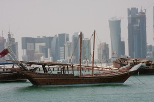 On the water looking back at Doha
