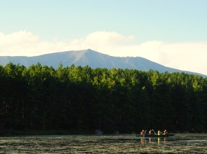 """Katahdin"" is a Penobscot Indian term meaning ""the greatest mountain."" So, technically, to say Mount Katahdin is redundant and silly - ""Mount The Greatest Mountain."" Anyways, it's much much bigger than anything else around. A shot from our campsite Saturday night."