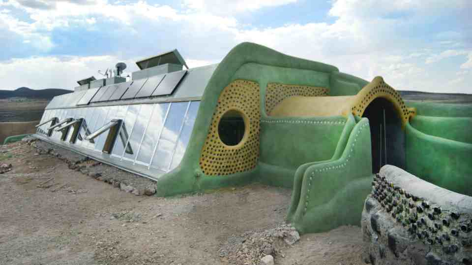 Earthship exterior shot New Mexico