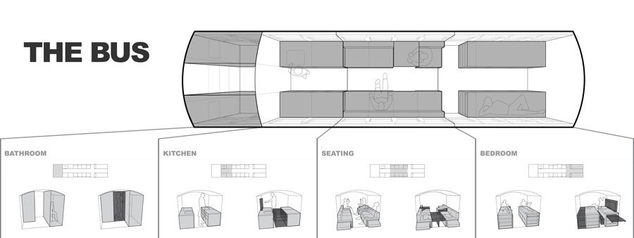 hank bus tiny house conversion floor plan