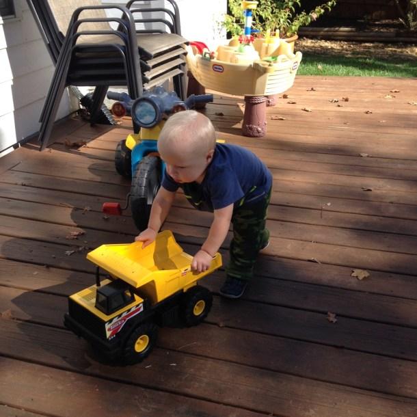 beau pushing truck deck