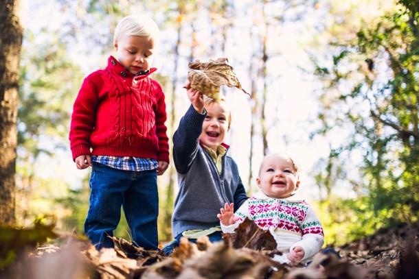 kids leaf pile